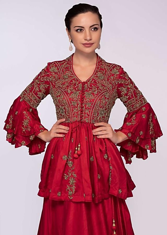 Red Lehenga In Raw Silk Paired With Peplum Style Blouse Online - Kalki Fashion