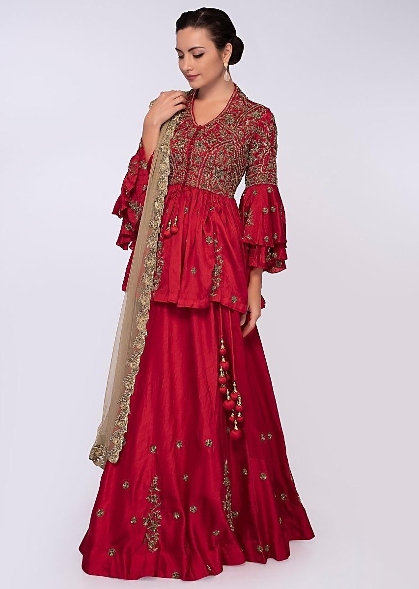 9eacddf402b37e Red raw silk lehenga paired with peplum style blouse only on KalkiMore  Detail