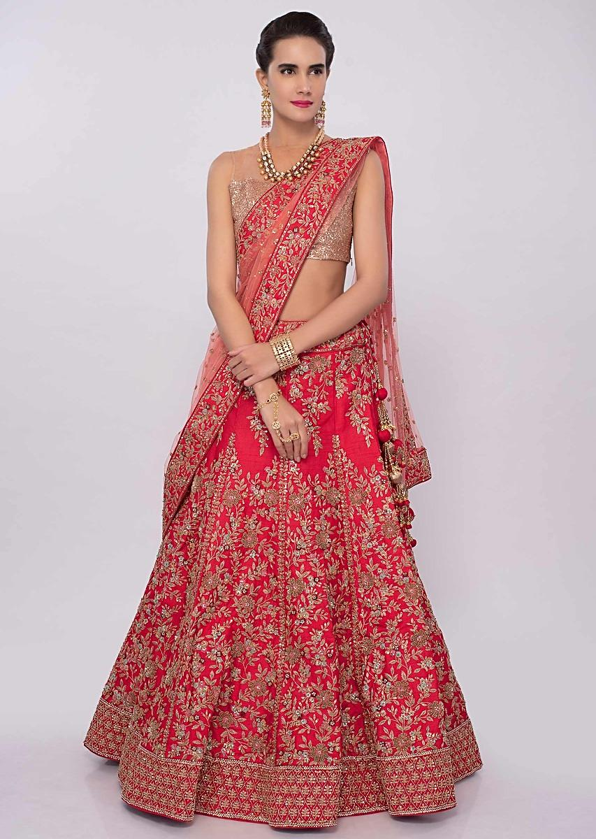 30e378a219db2e Red raw silk machine embroidered lehenga set in floral motif only on KalkiMore  Detail