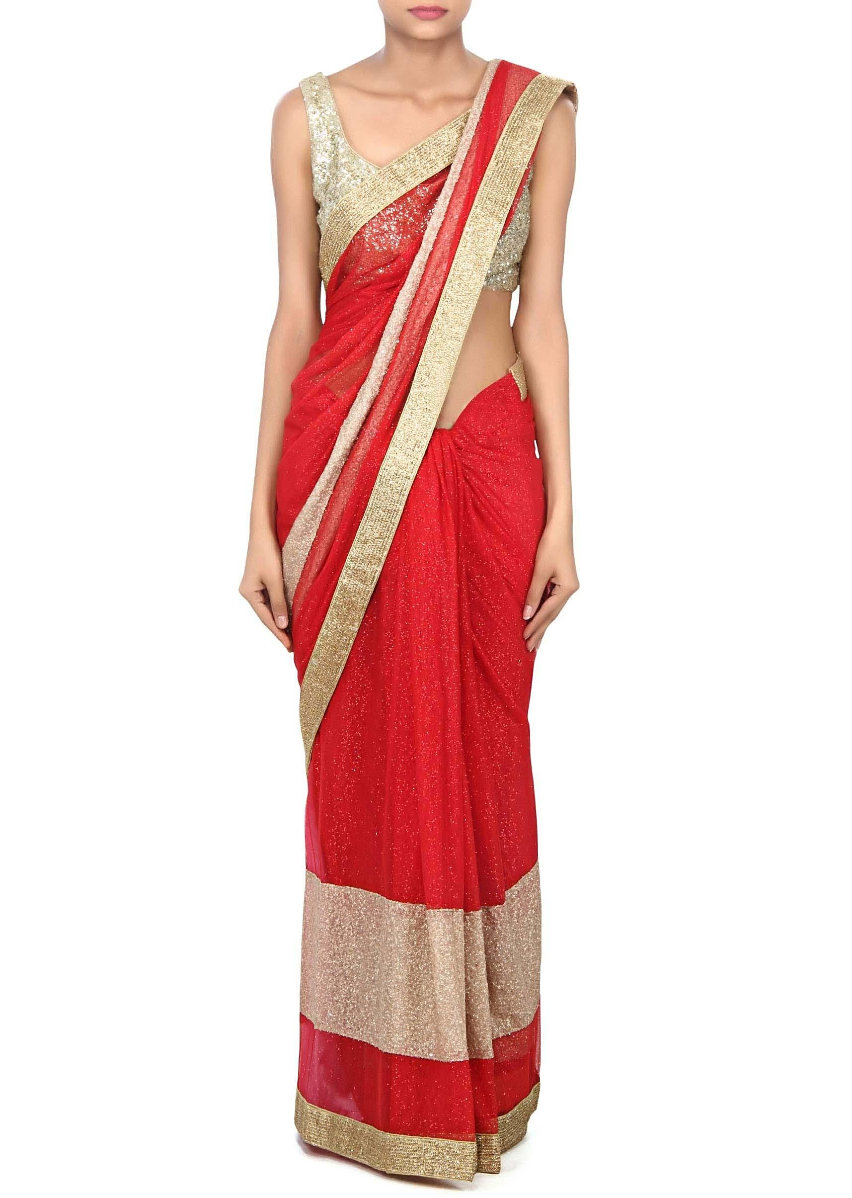 e720c8a800de81 Red saree adorn in shimmer net with sequin border only on Kalki