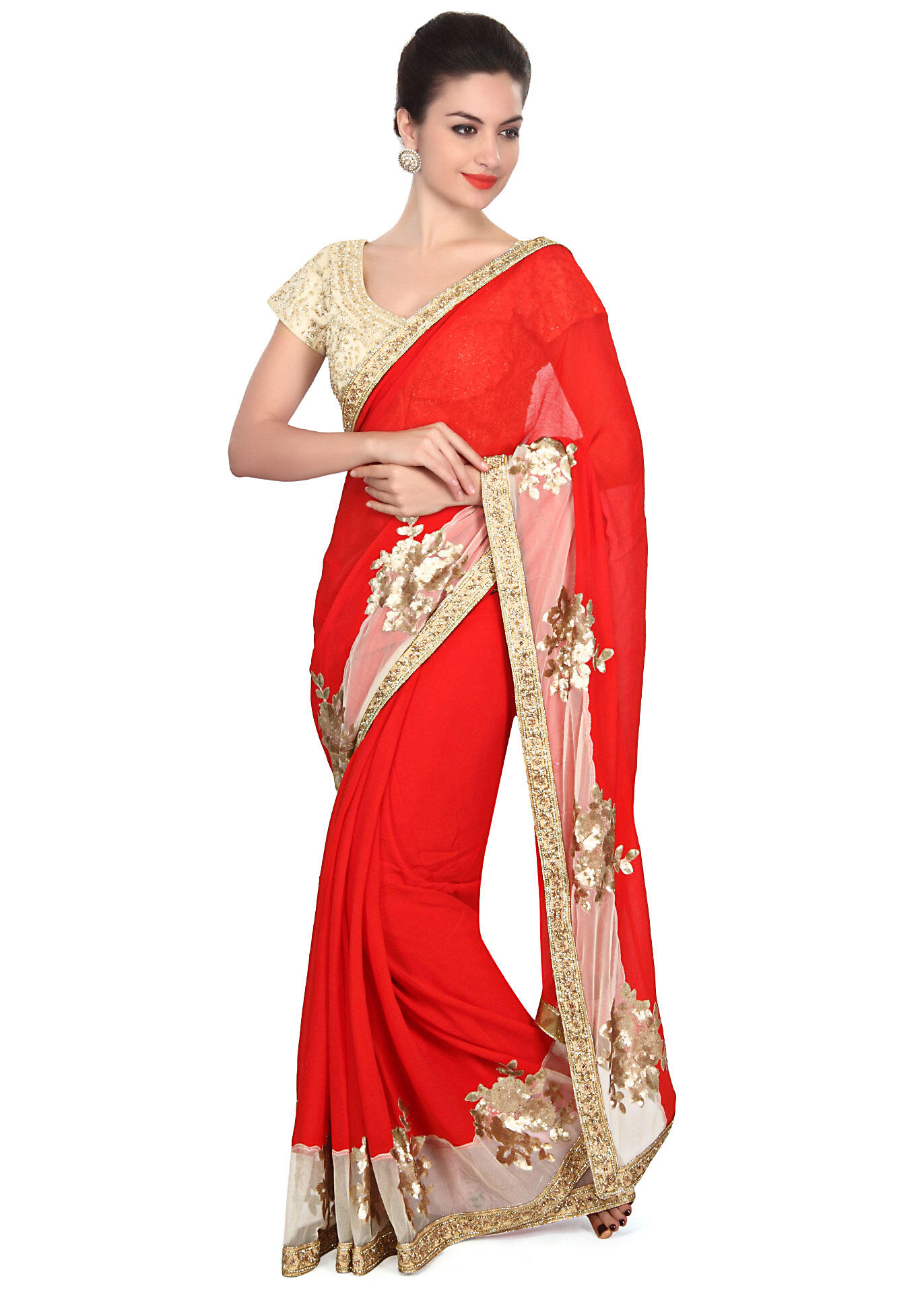 76dca7815856ce Red saree embellished in sequin embroidery only on KalkiMore Detail