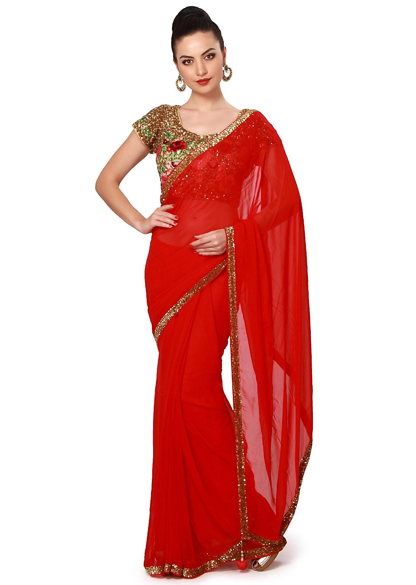 ce3c24c21133e Red saree features with sequin border only on KalkiMore Detail