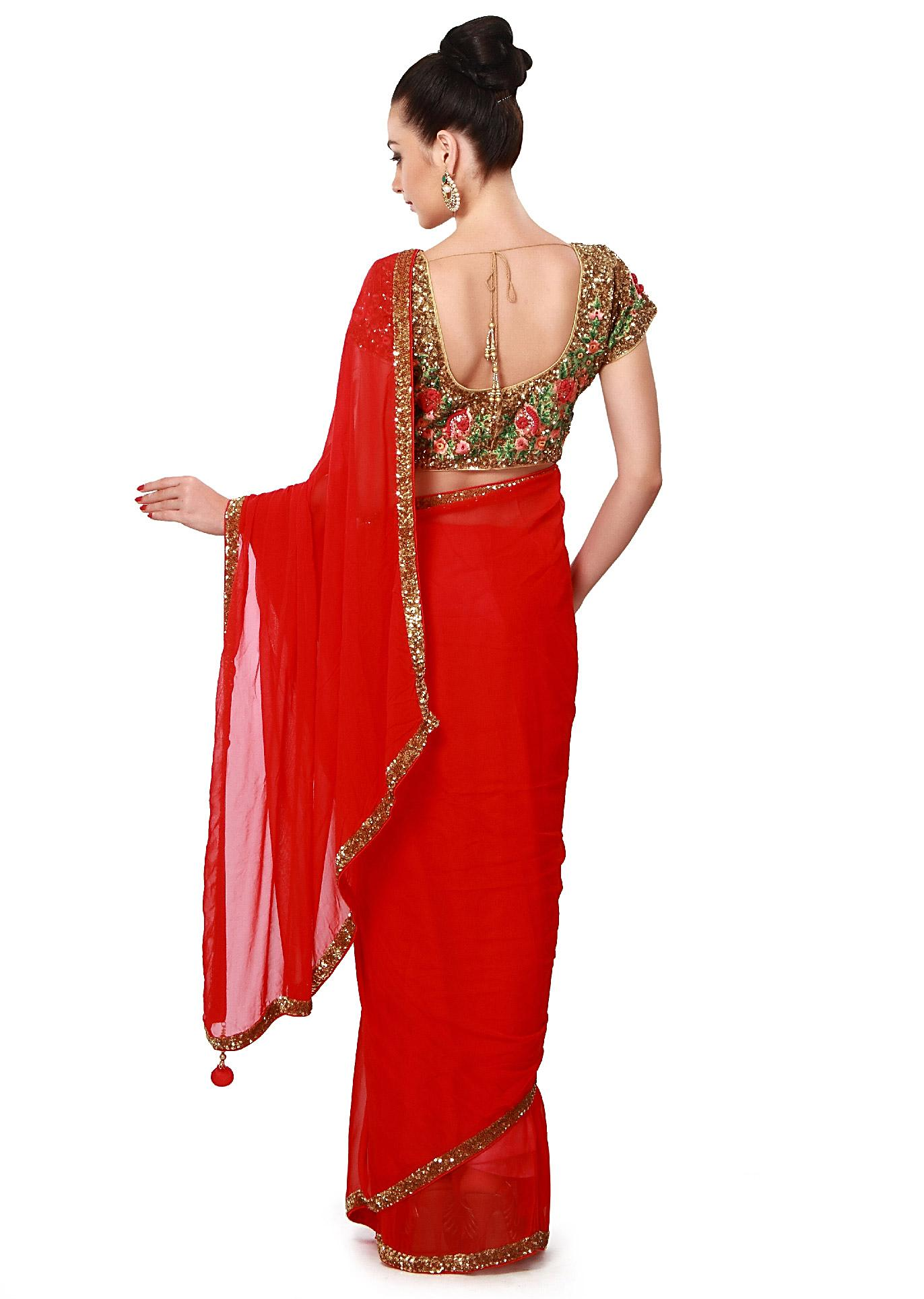 40e03a4d1bace3 Red saree features with sequin border only on Kalki