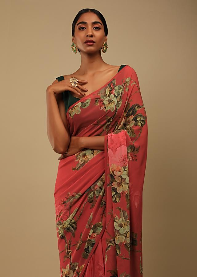 Red Saree In Crepe Georgette With Printed Floral Motifs And Unstitched Blouse Online - Kalki Fashion