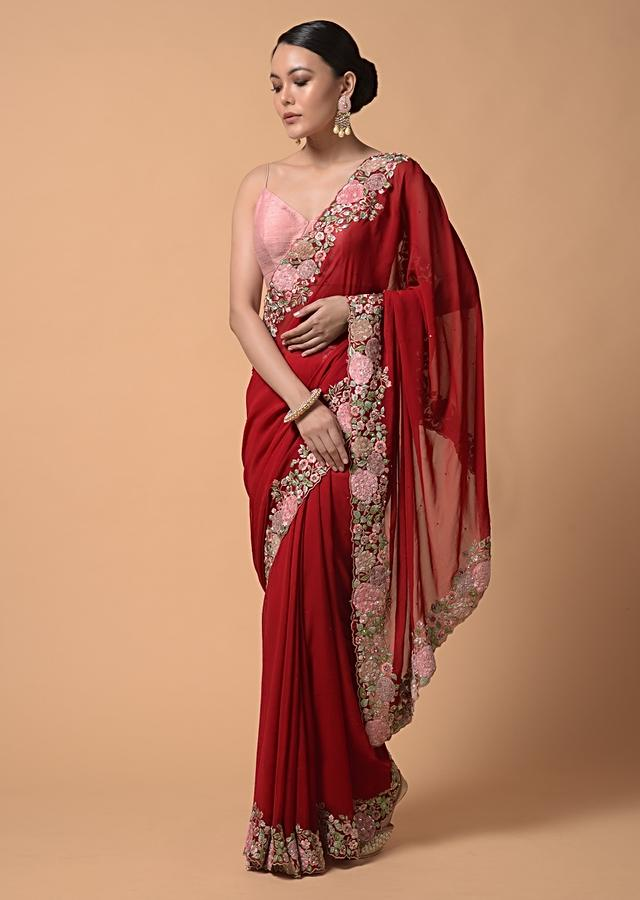 Red Saree In Georgette With Colorful Floral Embroidery On The Border Using Resham And Velvet Patchwork Online - Kalki Fashion