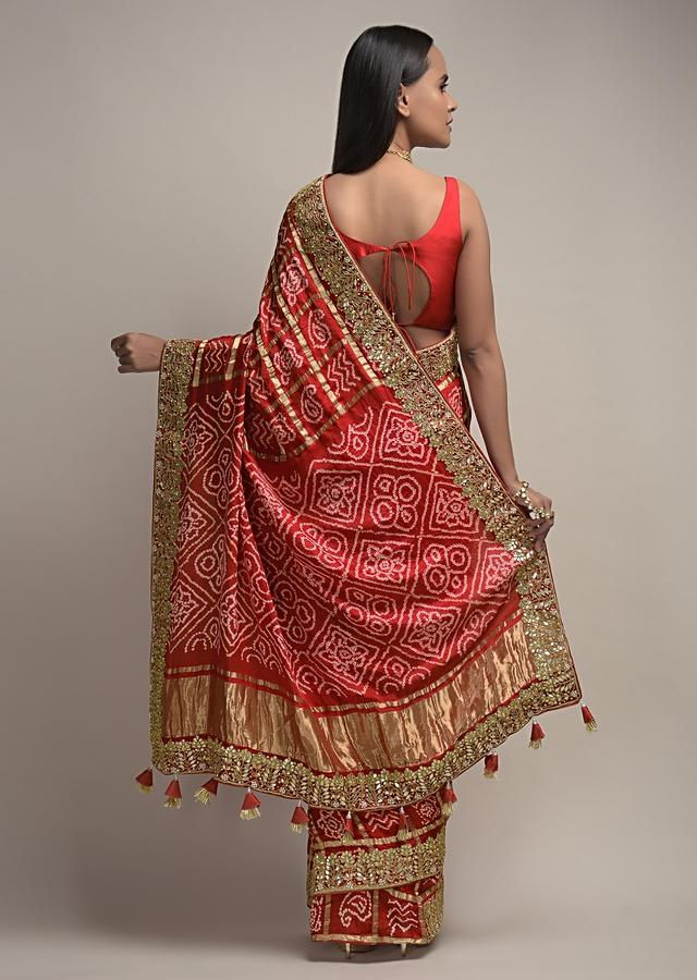 Red Saree With Bandhani And Gotta Patti Embroidered Border Along With Unstitched Blouse Online - Kalki Fashion