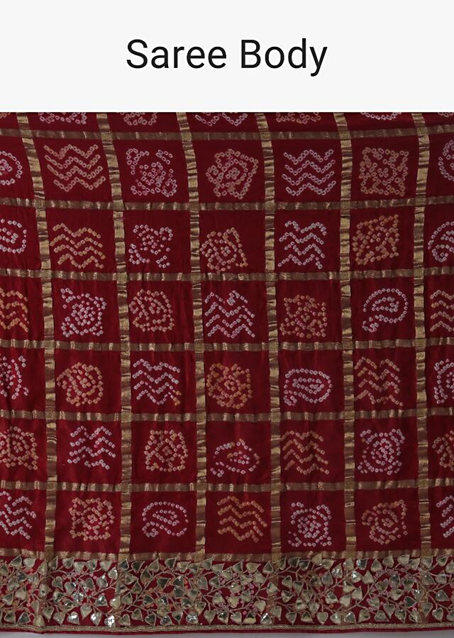 Red Saree With Bandhani And Gotta Work Along With Unstitched Blouse Online - Kalki Fashion