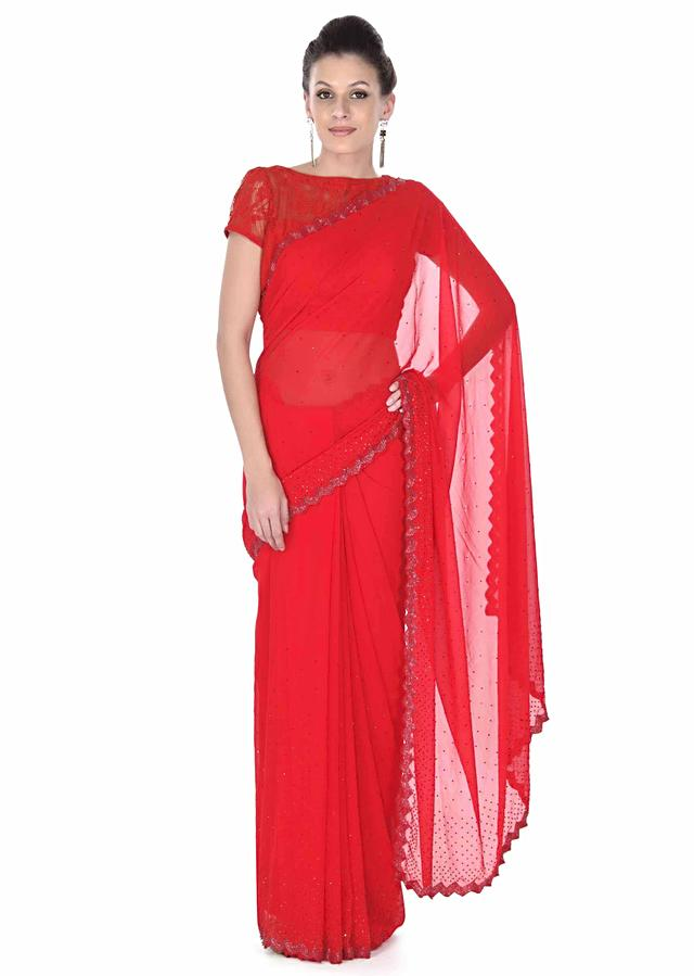 Red Saree With Kundan And Cut Dana Embroidered Border Online - Kalki Fashion