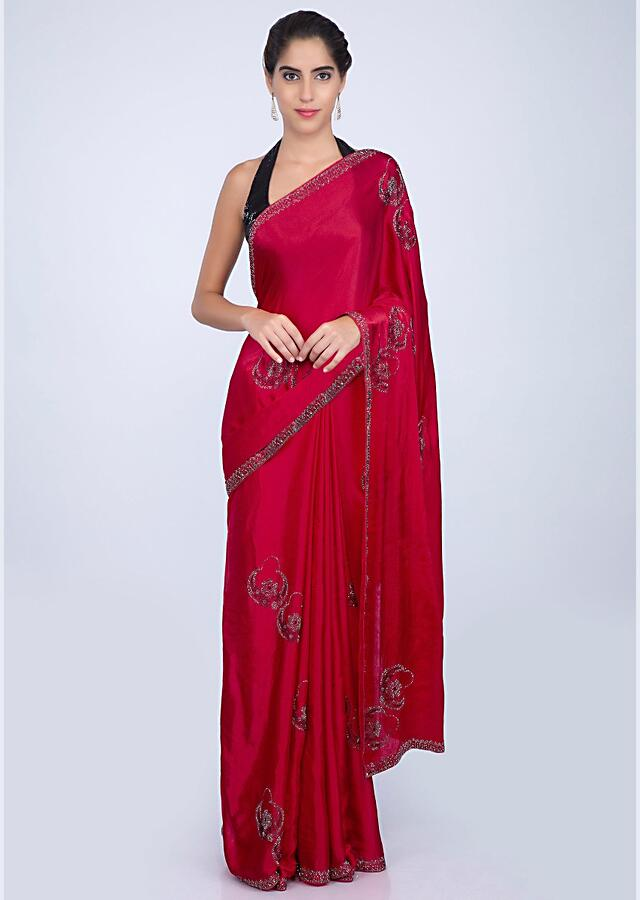 Red Saree In Satin Chiffon With Embroidered Butti And Border Online - Kalki Fashion