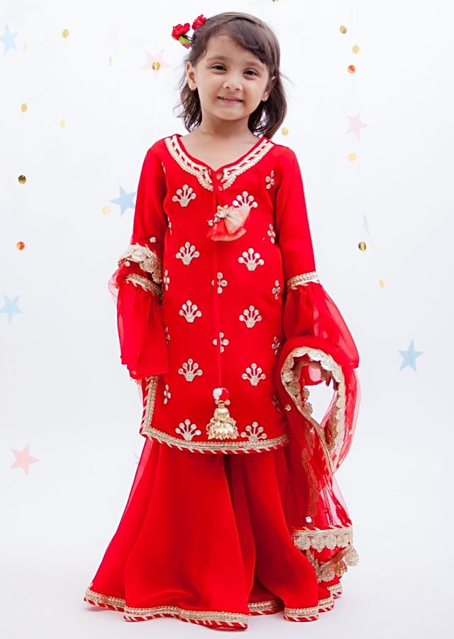 Red Sharara Suit With Embroidered Buttis By Fayon Kids