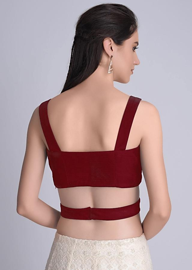 Red Sleeveless Blouse In Velvet With Cut Out At The Waist Online - Kalki Fashion