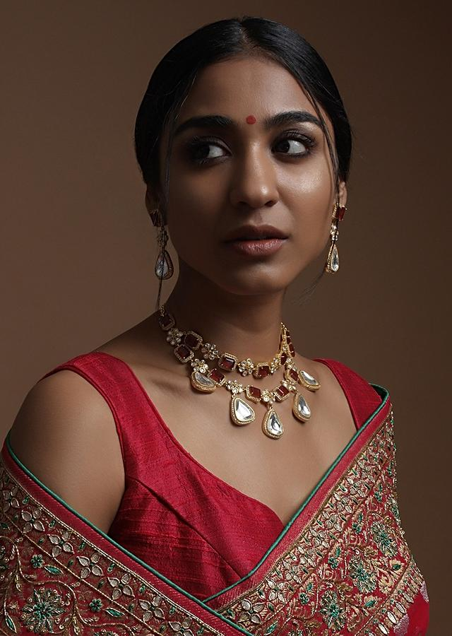Red Stone Double Layer Choker Necklace and earring set With Kundan Flowers And Dangling White Stones Kohar By Kanika