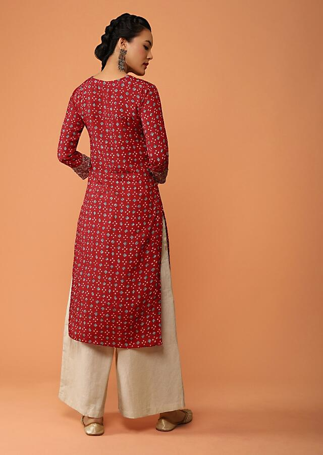 Red Straight Cut Kurti In Cotton With Bandhani Print All Over Along With Zari And Sequins Detailing Online - Kalki Fashion