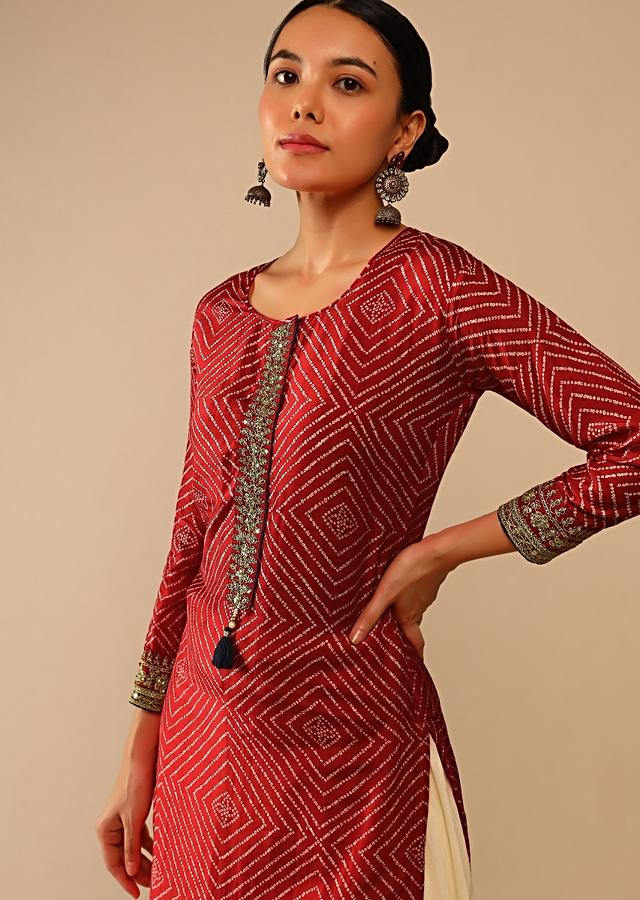Red Straight Cut Kurti In Cotton With Bandhani Print In Geometric Motifs And Adorned With Sequins And Zari Work Online - Kalki Fashion
