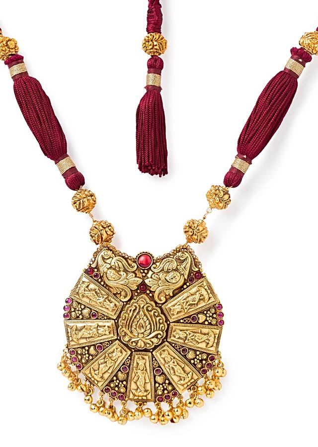 Red Temple Necklace And Earrings Set With Silk Thread, Hydro Rubies, Tassels And Carved Gold Plated Beads Online - Joules By Radhika