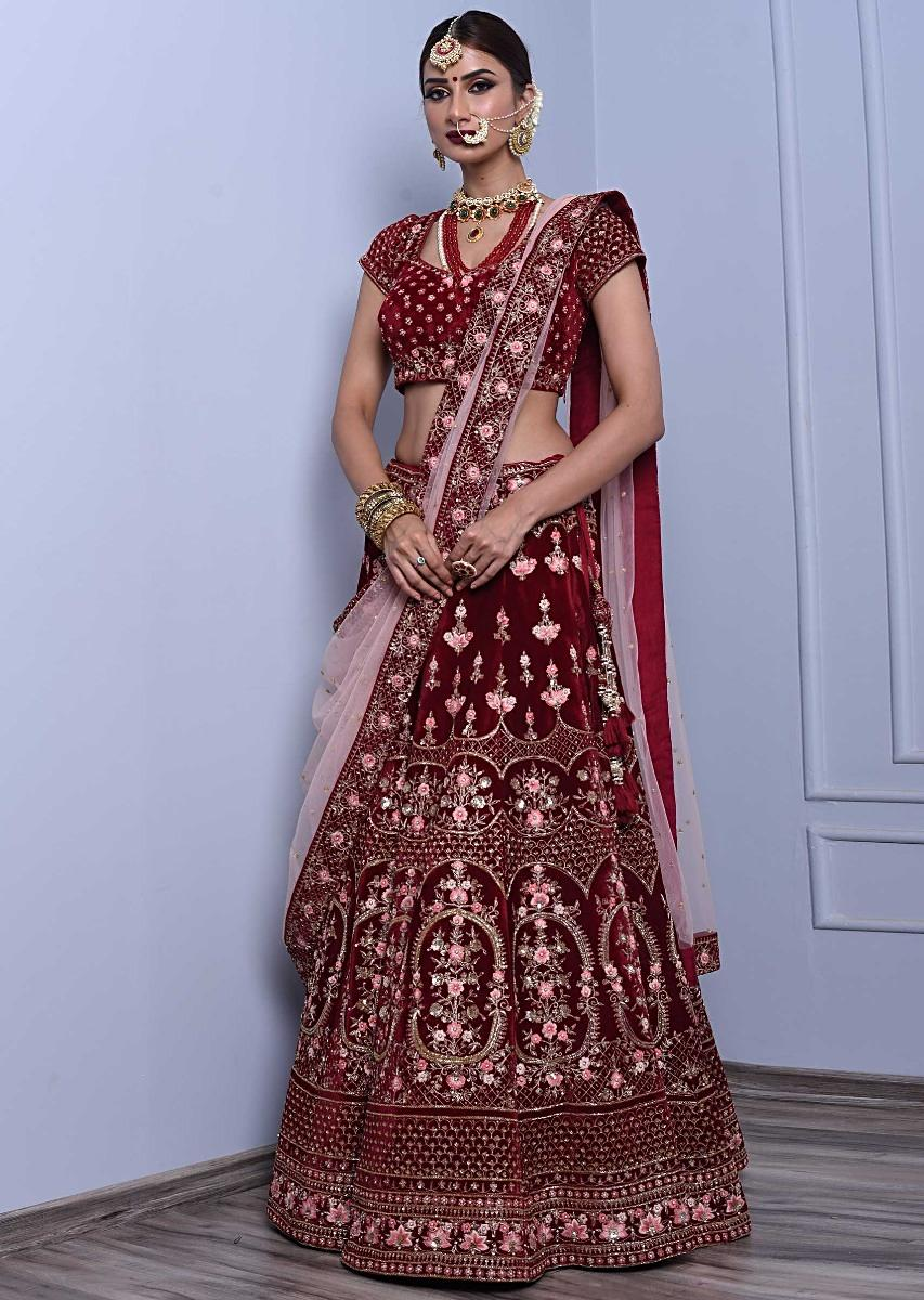 8c9273b3b8 Red velvet lehenga set paired with pink net dupatta only on Kalki