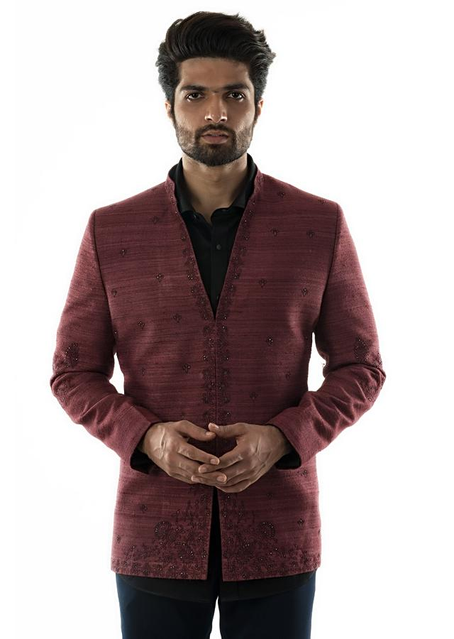 Red Wine Bandhgala With Silk Threads And Beads Embroidery And Slim Fit Black Trousers Online - Kalki Fashion