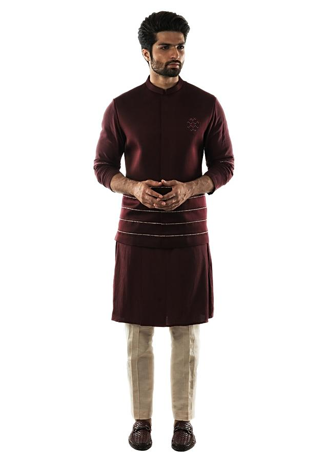 Red Wine Bandi In Linen Satin With Printed Cord Detailing Paired With A Red Wine Double Breasted Kurta Set Online - Kalki Fashion