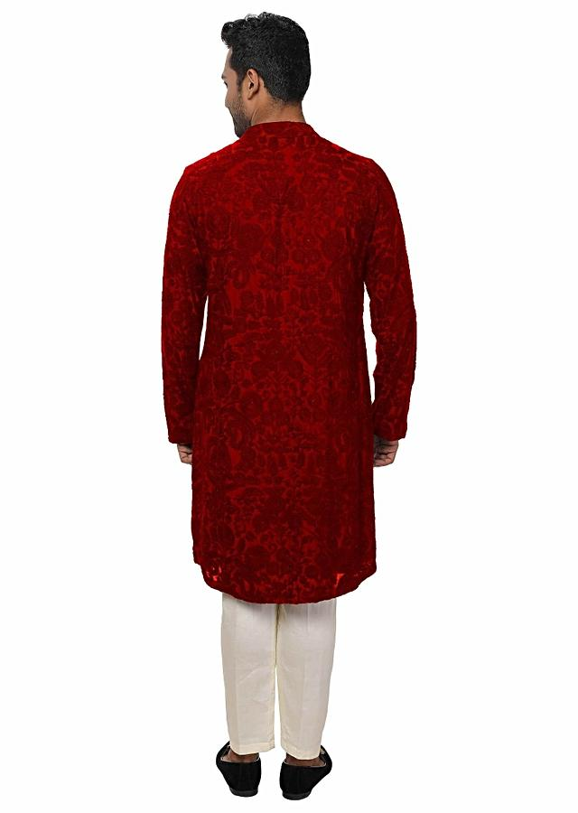 Red Kurta Set With , All Over Ari Embroidery Online - Kalki Fashion