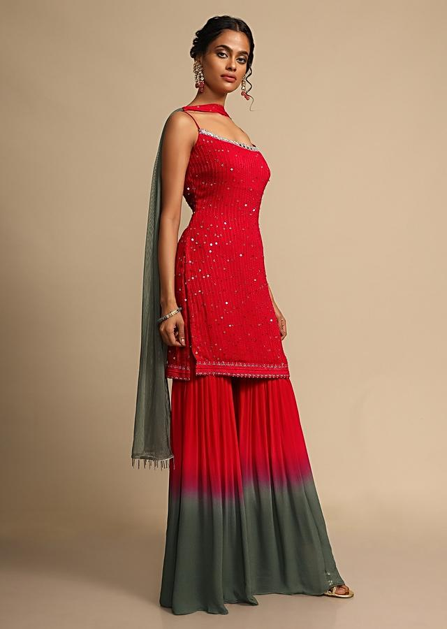 Red And Grey Shaded Sharara Suit In Georgette With Resham Embroidery  Online - Kalki Fashion