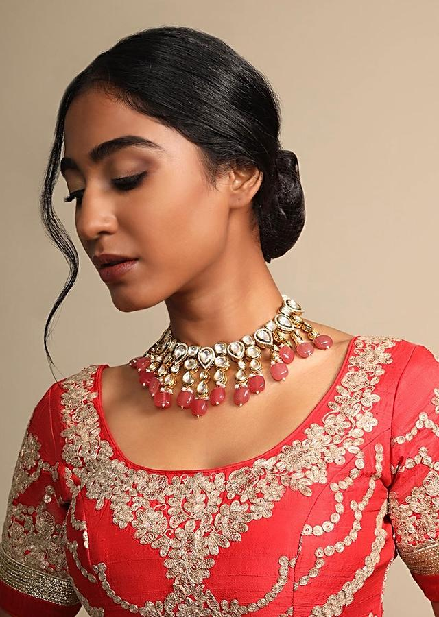 Red Beads Choker Necklace With Polki Work Along With Moti And Stone Highlights By Prerto