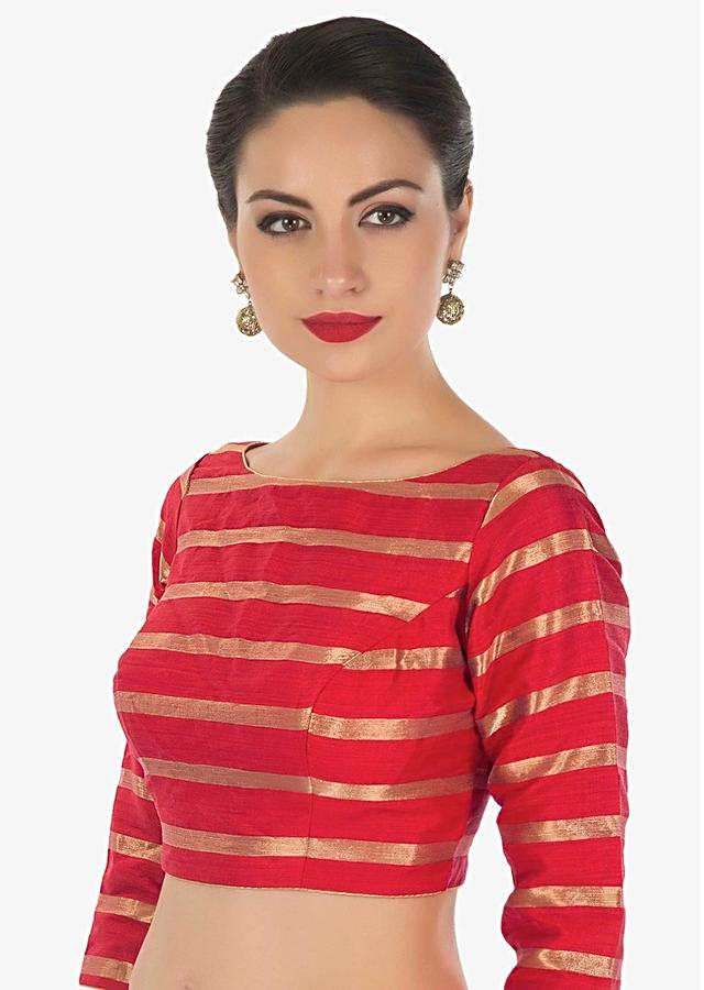 Red Blouse In Silk With Copper Color Weave In Stripes Motif Online - Kalki Fashion