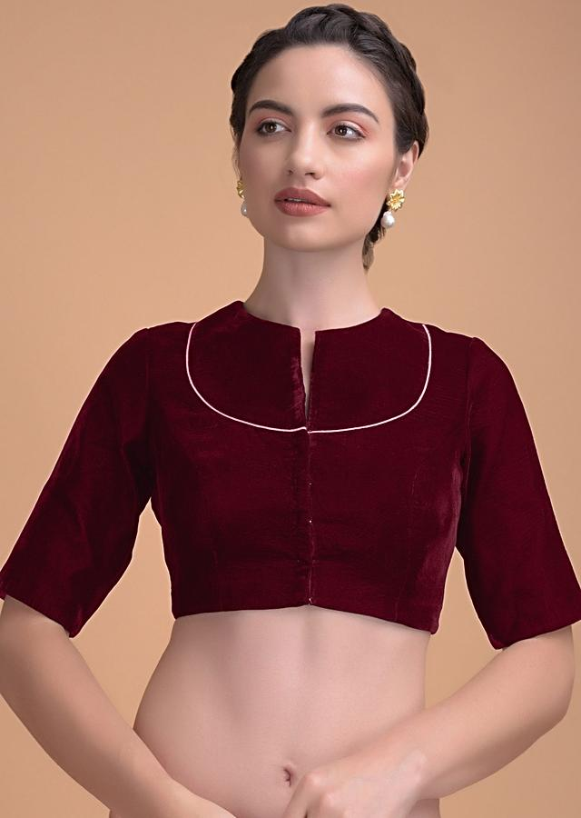 Red Blouse In Velvet With A Zari Lace Defining The Neckline Online - Kalki Fashion