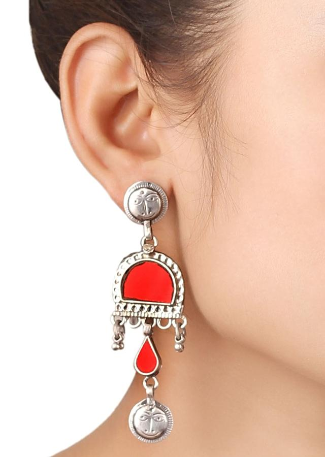 Red Glass Work Earrings In Ethnic Design With Dangling Tassel Made In Sterling Silver By Sangeeta Boochra