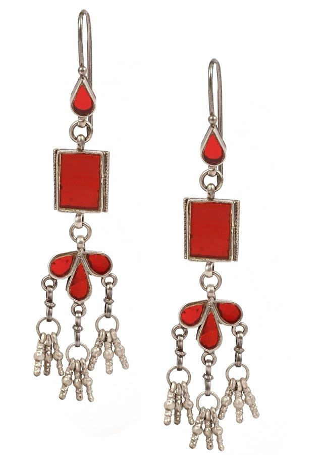 Red Glass Work Earrings In Geometric And Drop Shape With Dangling Tassels Made In Sterling Silver By Sangeeta Boochra
