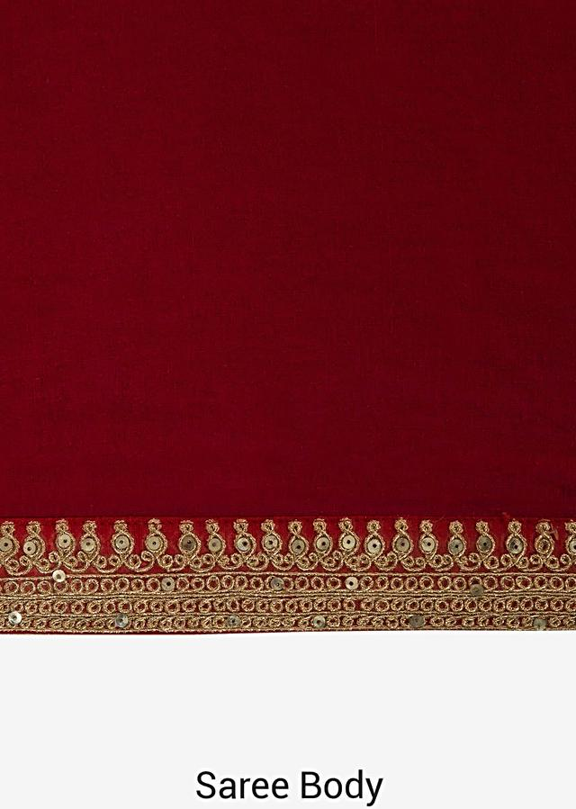 Red Saree In Cotton With Ready Stitched Blouse Embellished In Zari Butti Embroidery Online - Kalki Fashion