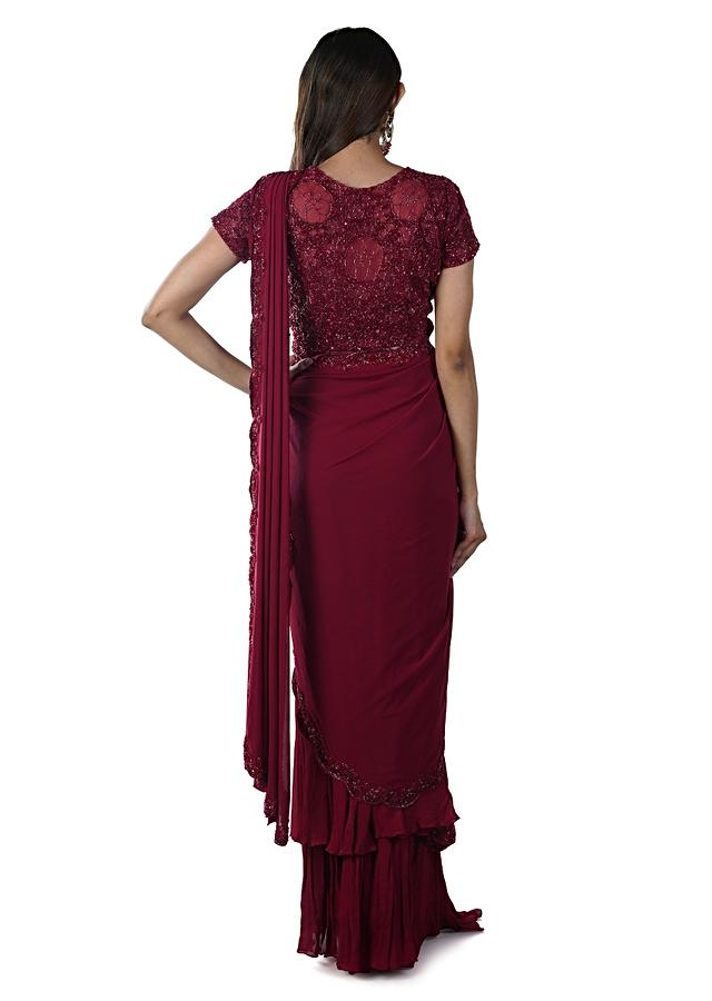 Reddish Maroon Hand Embroidered Blouse Paired With A Draped Skirt And Scallop Dupatta Online - Kalki Fashion