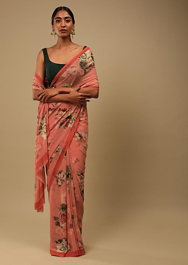 Reddish Peach Saree In Crepe Georgette With Printed Rose Motifs And Unstitched Blouse Online - Kalki Fashion