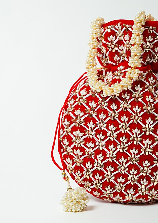 Red Potli Bag In Velvet With Cut Dana And Beads Embroidered Jaal Design By Shubham
