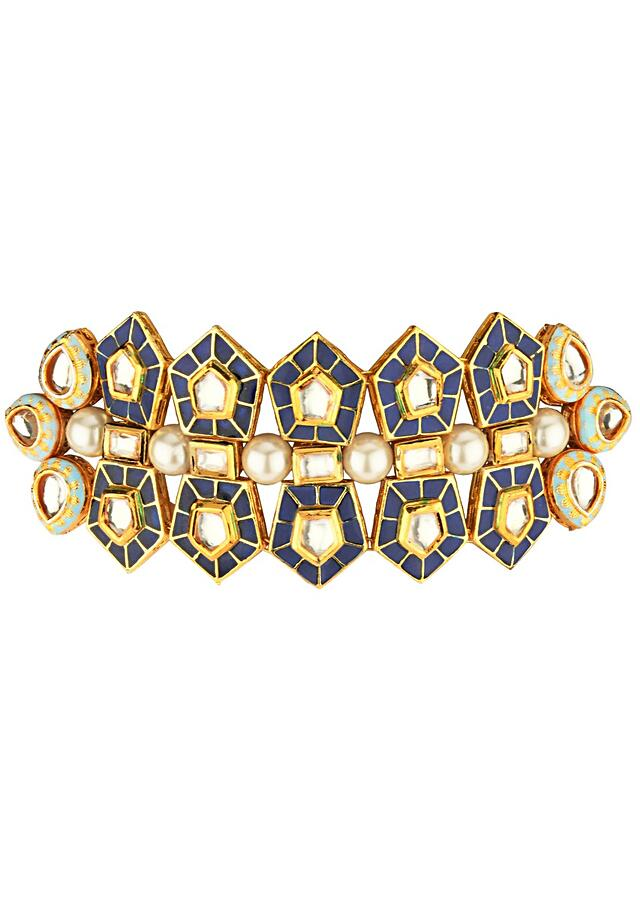 Regal Blue Choker Necklace And Earrings Set With Enamel Work, Kundan And Shell Pearls In A Modern Design Online - Joules By Radhika