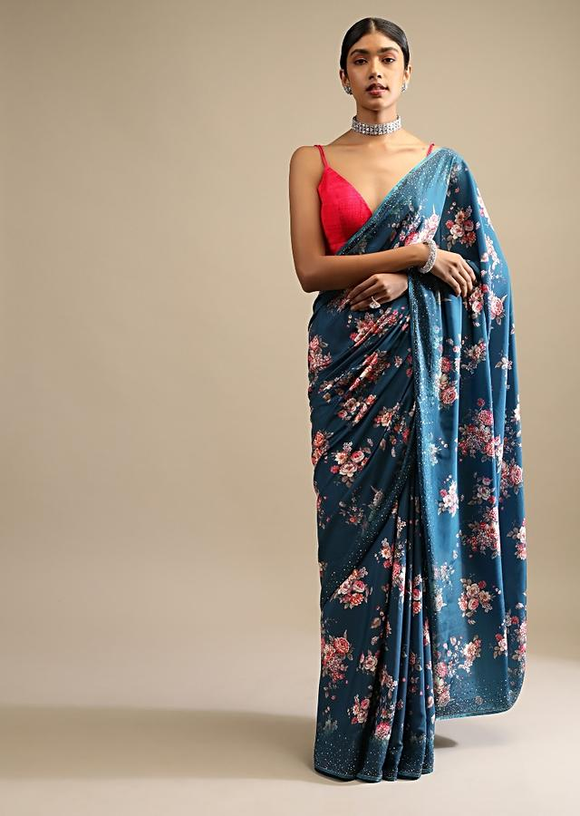 Regal Blue Saree In Crepe With Floral Print All Over And Multi Colored Kundan Accents Along The Border Online - Kalki Fashion