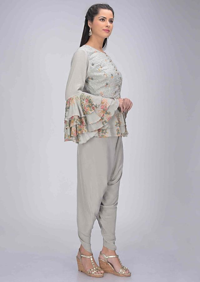 Rhino Grey Cotton Peplum Top With Crepe Dhoti Online - Kalki Fashion