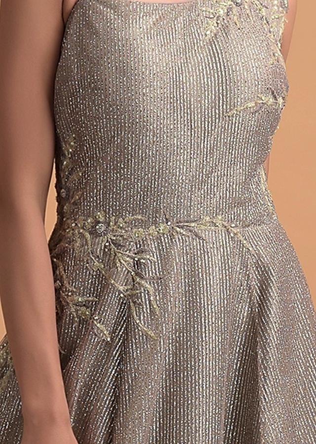 Rhino Grey Gown In Net With Shimmer Stripes And Organza Frill On The Hemline Online - Kalki Fashion