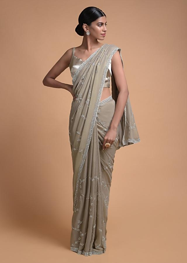 Rhino Grey Saree In Shimmer Georgette With Embroidered Floral Pattern Online - Kalki Fashion