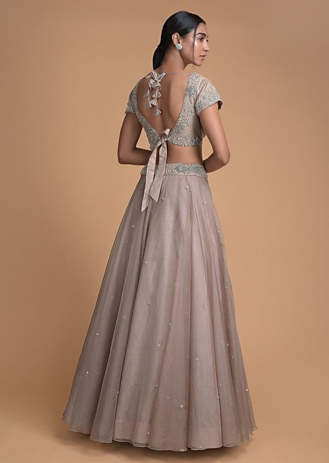 Rhino Grey Skirt And Crop Top With Floral Buttis And Ready Pleated Dupatta Online - Kalki Fashion