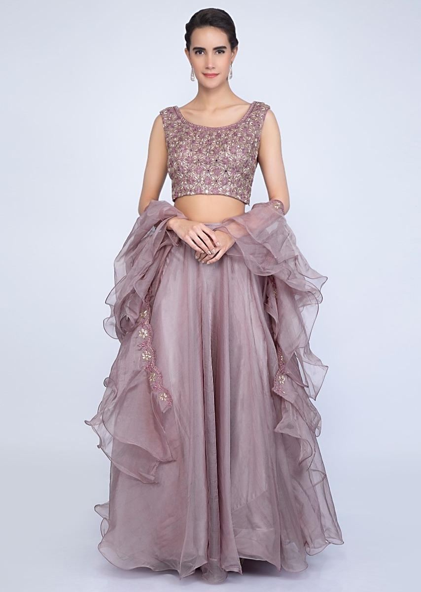 4968ca3664 Rich mauve organza lehenga with embroidered blouse and ruffled dupatta only  on Kalki