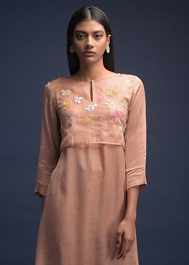 Rich Tan Beige A Line Suit In Cotton With Thread Embroidered Organza Layer On The Bodice Online - Kalki Fashion