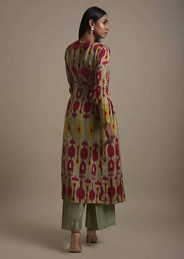 Romaine Green A Line Suit In Cotton Silk With Abstract Print And Thread Embroidery Online - Kalki Fashion