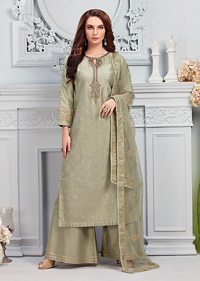 Romaine Green Palazzo Suit In Cotton Silk With Self Thread Embroidered Floral Buttis And Gotta Work Online - Kalki Fashion
