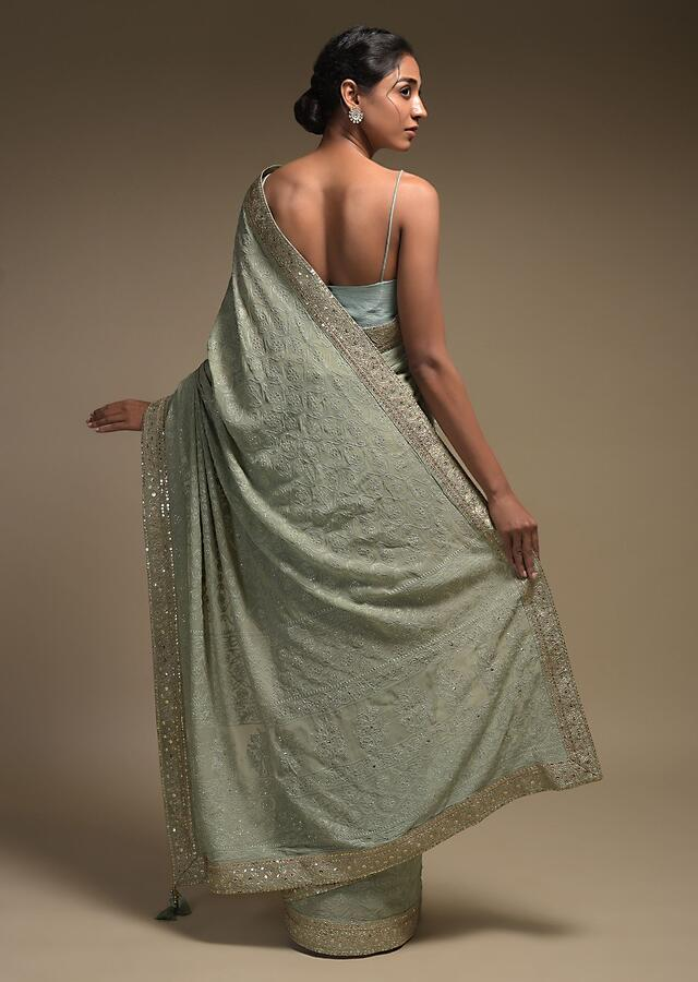 Romaine Green Saree In Georgette With Lucknowi Thread Work In Moroccan Mesh Pattern With Floral Buttis Online - Kalki Fashion