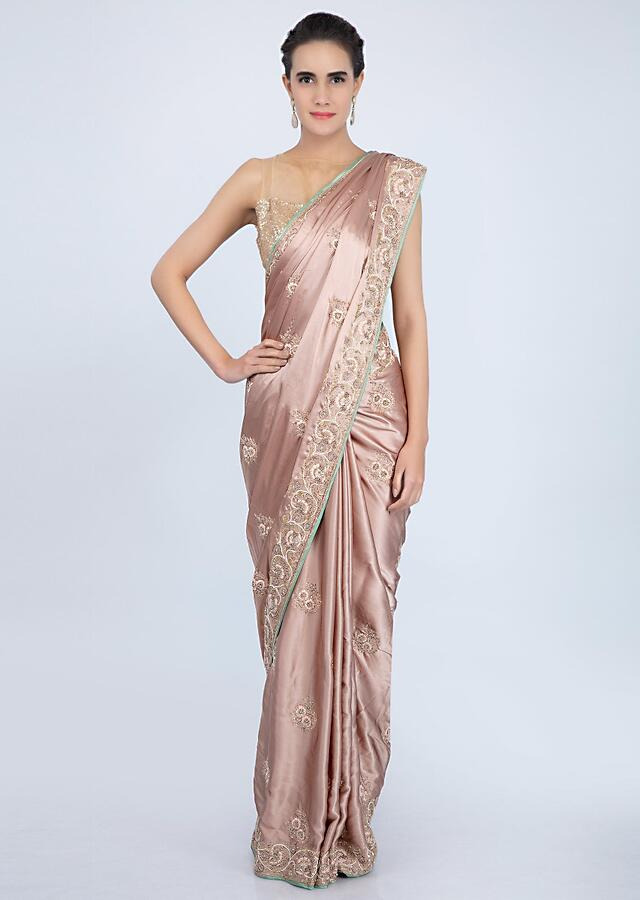 Rose Gold Saree In Satin With Embroidered Butti And Border Online - Kalki Fashion