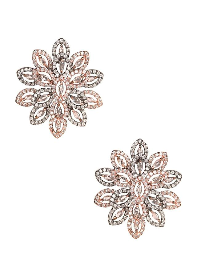 Rose Gold And Grey Studs In Floral Pattern With Stone And Crystal Work Online - Kalki Fashion