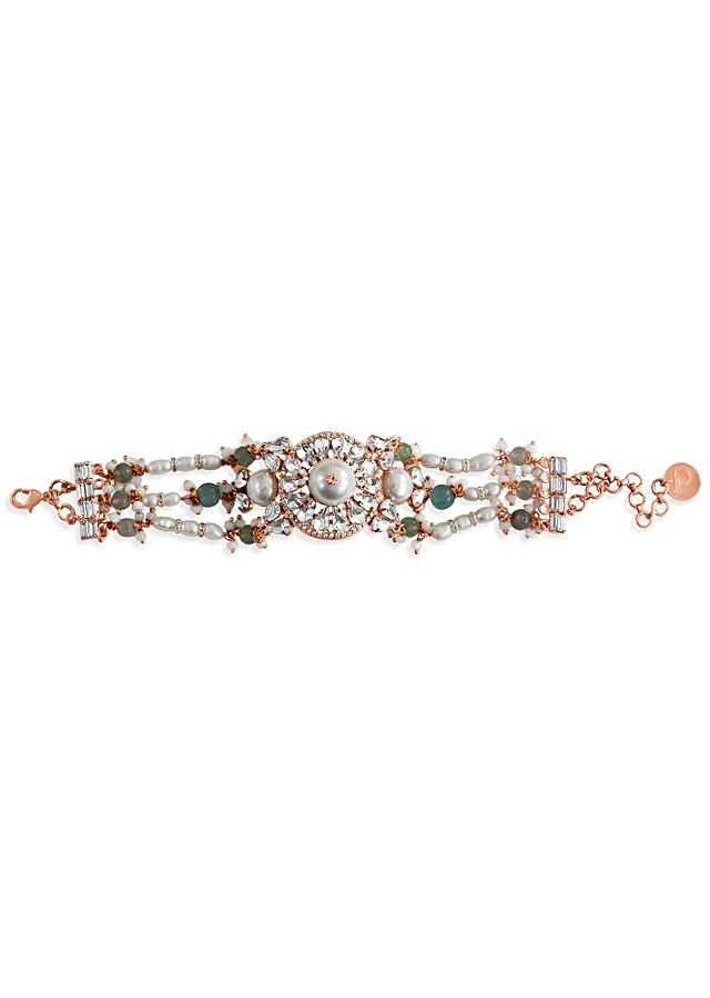 Rose Gold Bracelet With Semi-Precious Carved Beads, Swarovski Crystals And Delicate Pearl Accents By Prerto