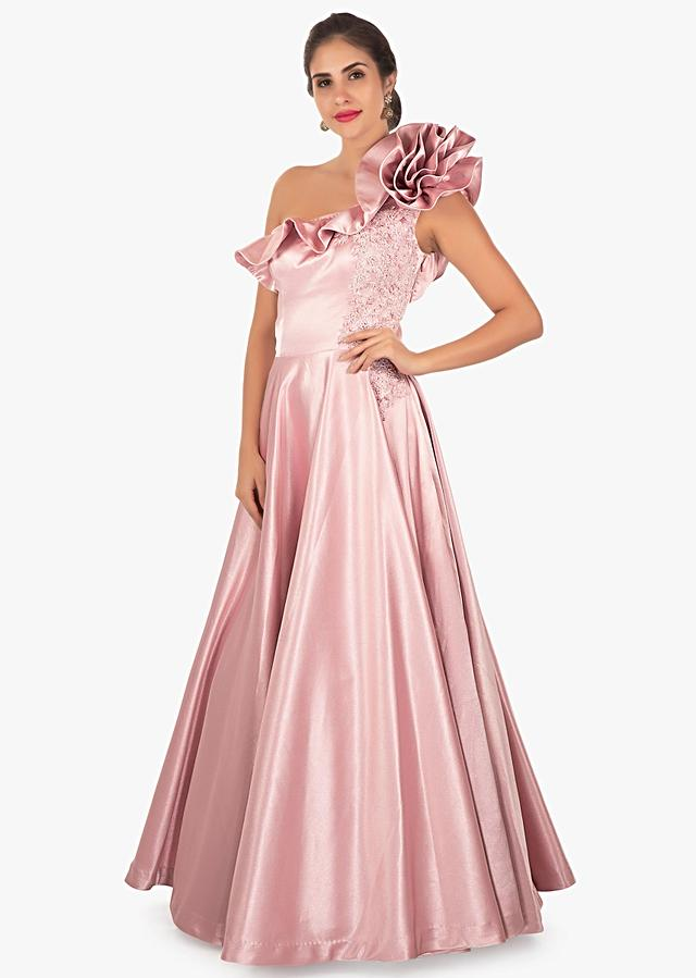 Rose Gold Heavy Satin Gown With 3D Flower And One Sided Neckline Online - Kalki Fashion