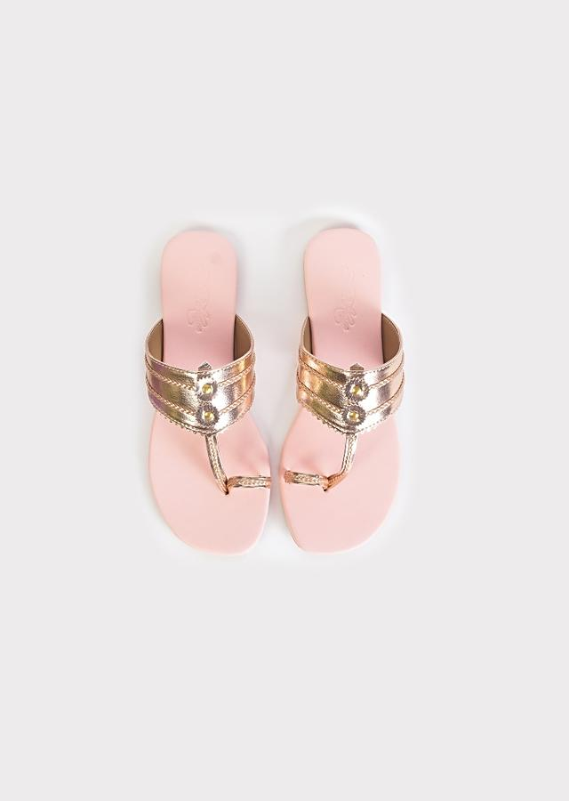 Rose Gold Kolhapuri Flats With Baby Pink Sole By Sole House