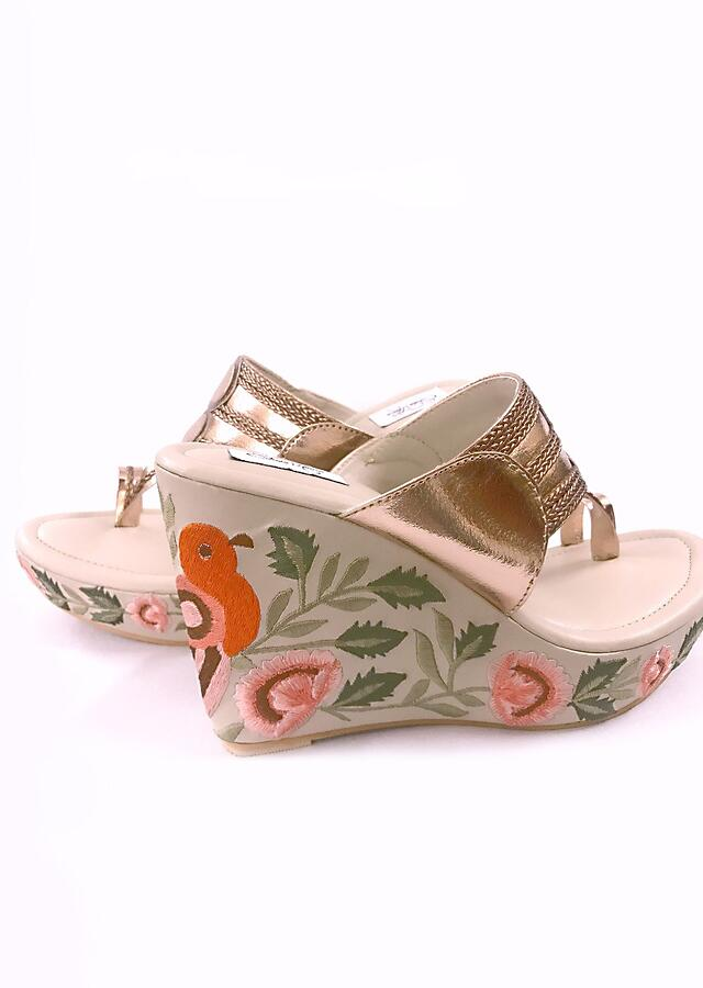 Rose Gold Kolhapuri Wedges With Resham Embroidered Bird And Leaf Motifs By Sole House